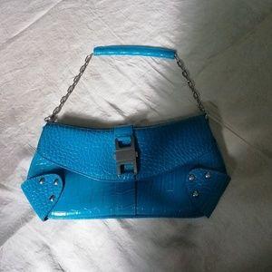 Joanel turquoise croc embrosed clutch shoulder bag